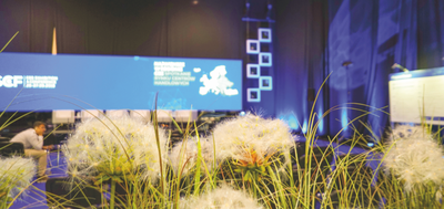 zielona scenografia targowa z kwiatów sztucznych