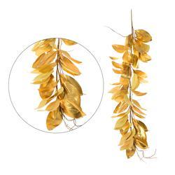 Złota sztuczna girlanda z liści magnolii (DK120X)