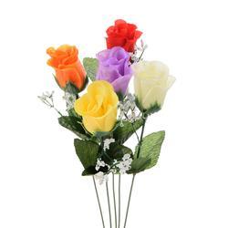 Róża sztuczna w pąku z gipsówką - gałązka (K220)