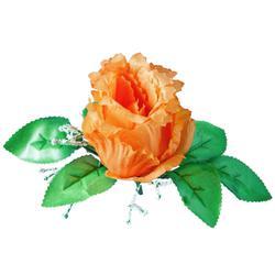 Róża z listkami i gipsówką - główka (W848)