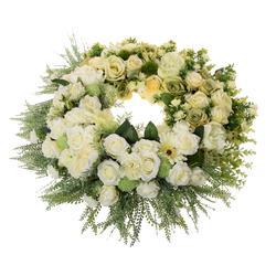 Wieniec z jasnych kwiatów na cmentarz (NNB026)