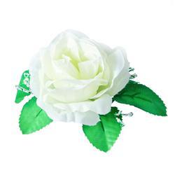 Róża - główka  z listkami i gipsówką (W125)